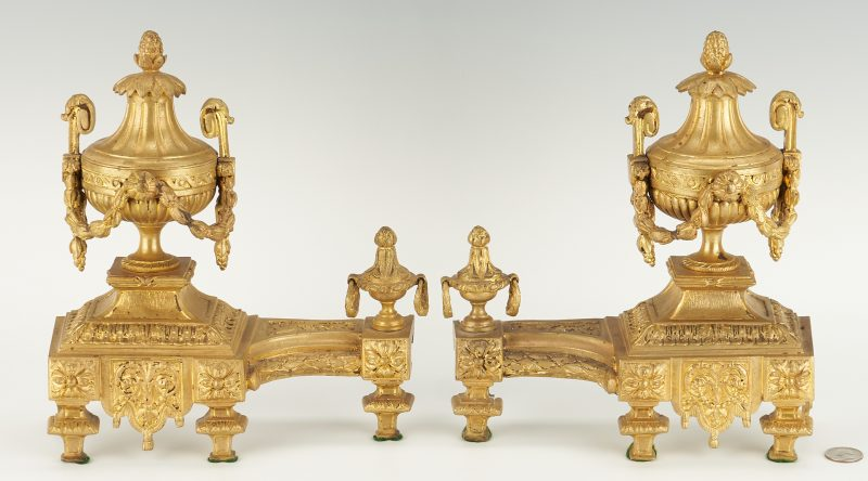 Lot 402: Pair French Gilt Bronze Chenets