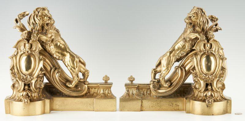 Lot 403: Gilt Bronze Lion Figural Fireplace Chenets