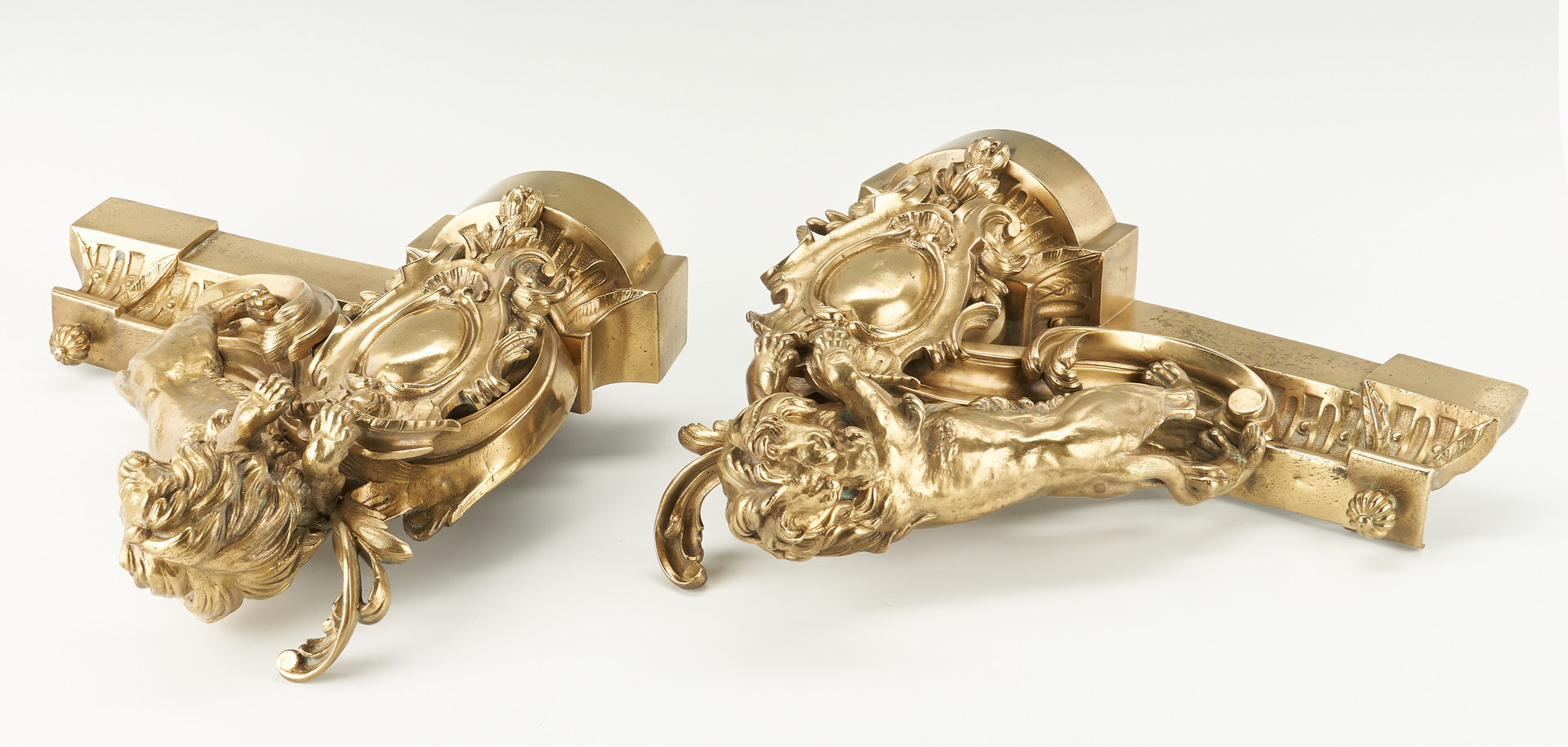 Lot 403: Gilt Bronze Lion Figural Fireplace Chenets