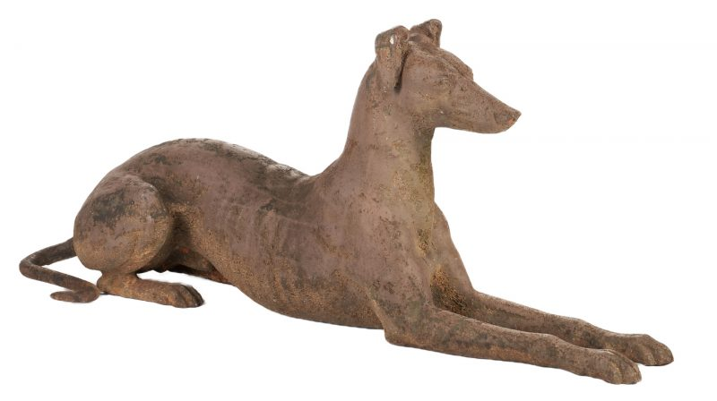 Lot 405: Large Cast Iron Greyhound, attr. J.W. Fiske