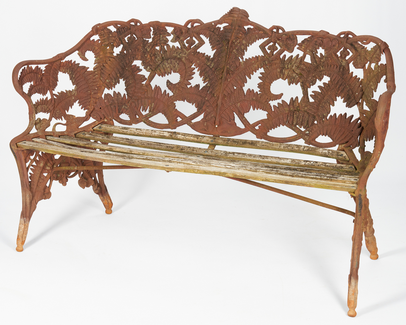 Lot 407: Near Pair Cast Iron Garden Benches, 1 signed