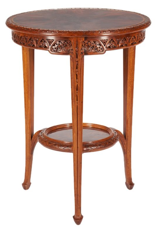 Lot 409: Majorelle Signed Art Nouveau Round Aubepine Table