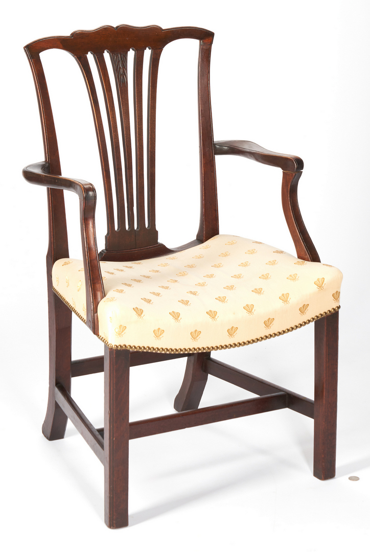 Lot 414: Chippendale Wingback Chair & Armchair