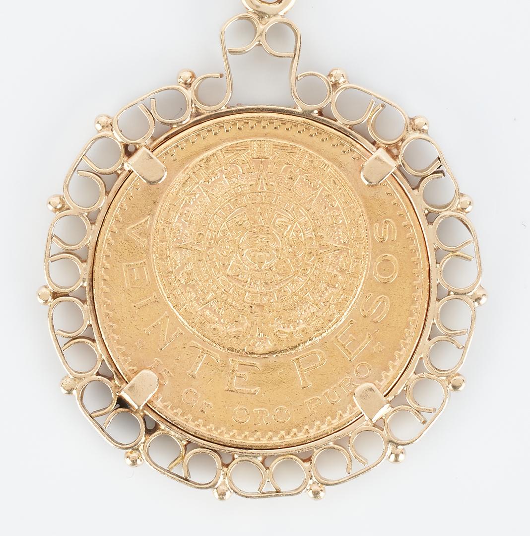 Lot 41: 1918 Mexican Gold 20 Peso Coin & 18K YG Link Bracelet