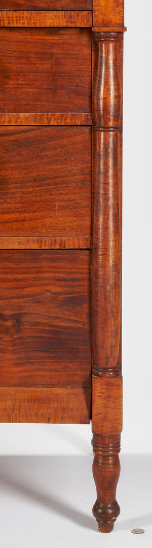 Lot 427: Southern Tiger Maple Chest with Carved Backsplash