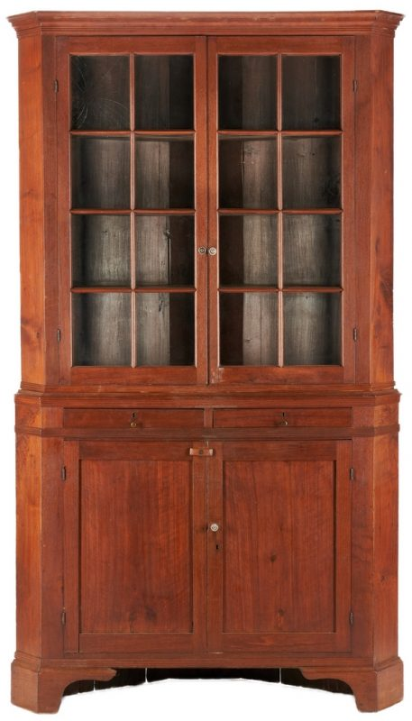 Lot 428: North Carolina 2-Piece Walnut Corner Cupboard