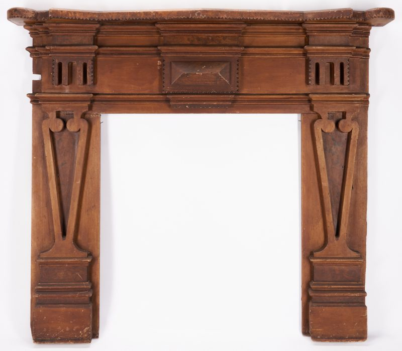 Lot 432: Southern Chip Carved Paint Decorated Mantel
