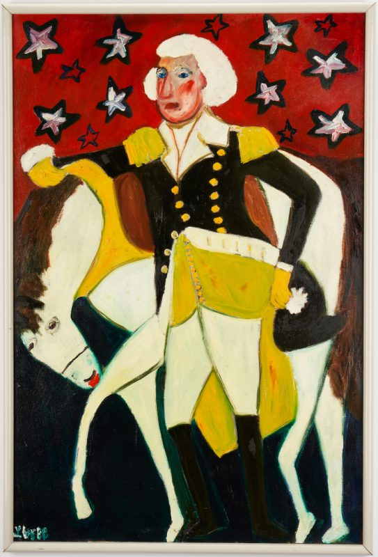 Lot 437: Lilian Webb Outsider Art Portrait, George Washington