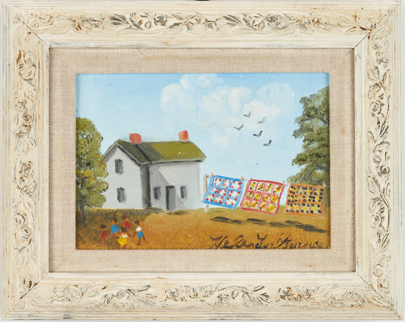 Lot 442: 2 Small Helen LaFrance Paintings, Quilts on a Line