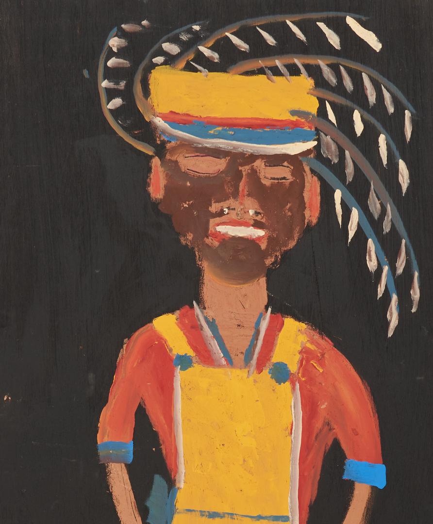 Lot 444: 2 J. L. Sudduth Folk Art Paintings, Male Figures
