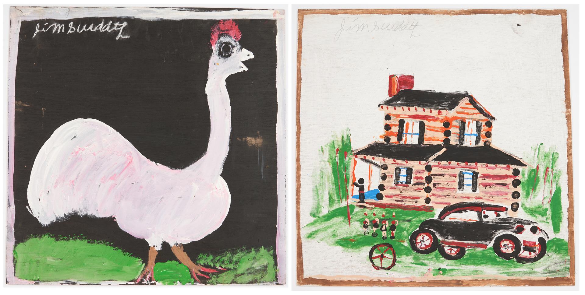 Lot 446: 2 J.L. Sudduth Folk Art Paintings, Log Cabin & Chicken