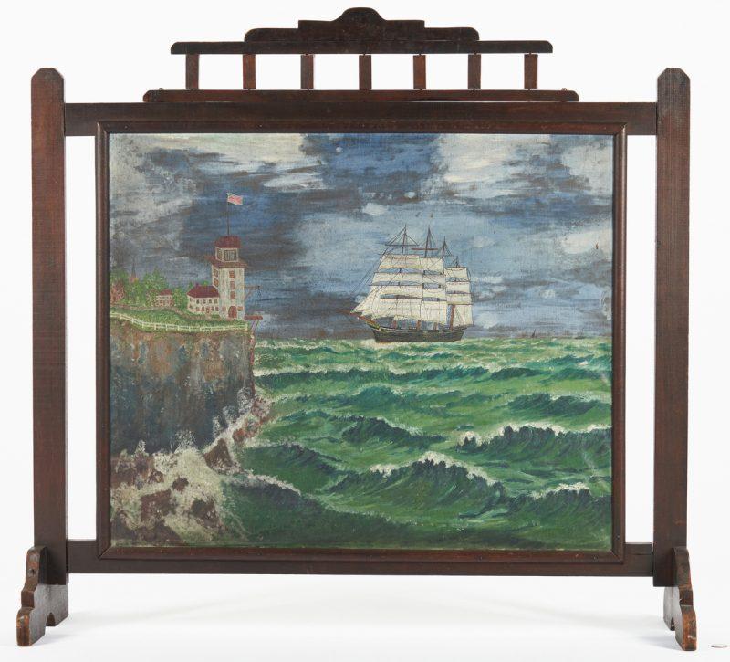 Lot 449: Folk Art Painted Fireplace Screen