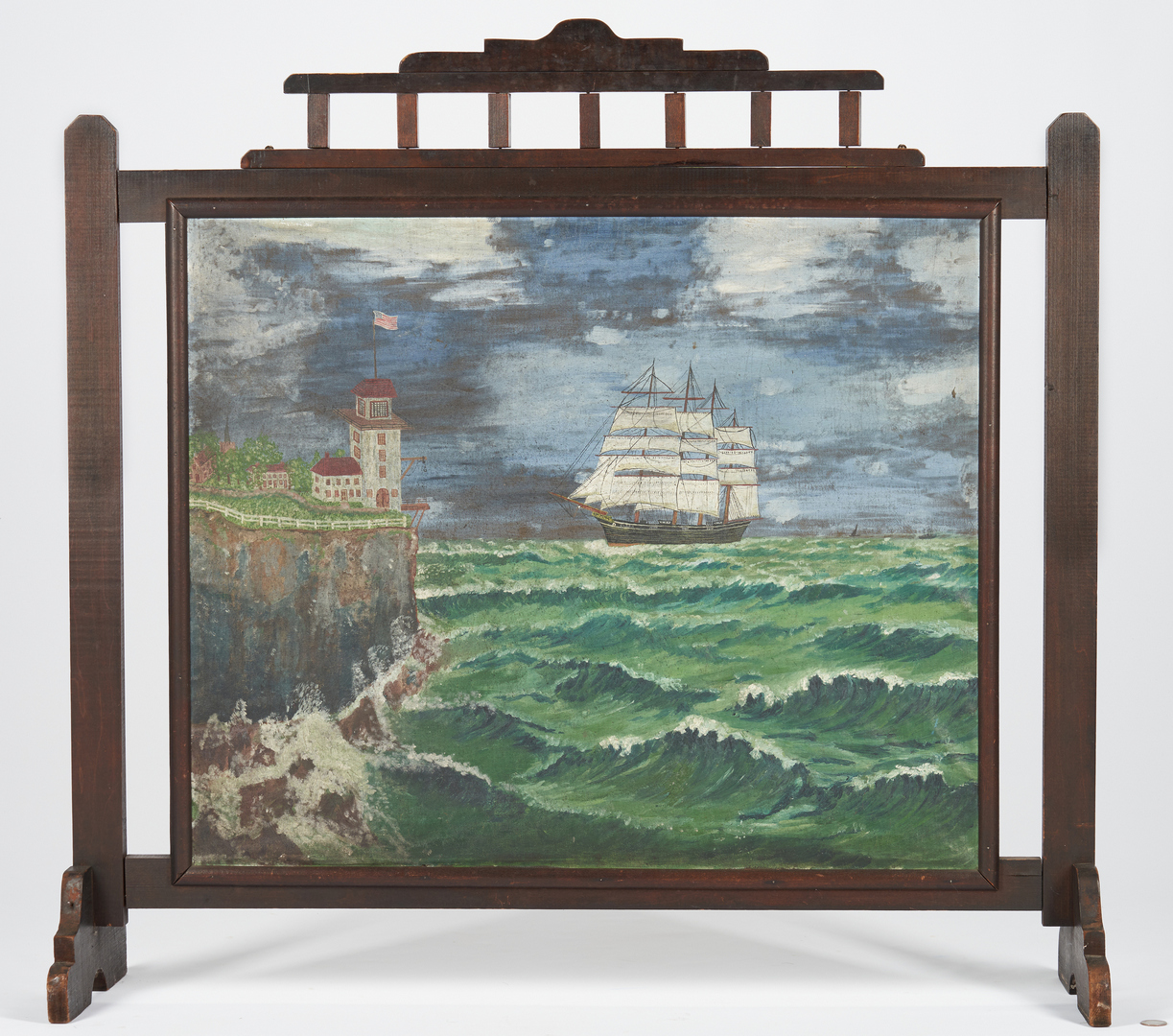 Lot 449: Folk Art Painted Fireplace Screen