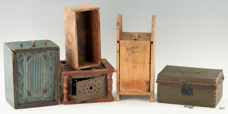 Lot 452: 4 Primitive Boxes & 1 Foot Warmer