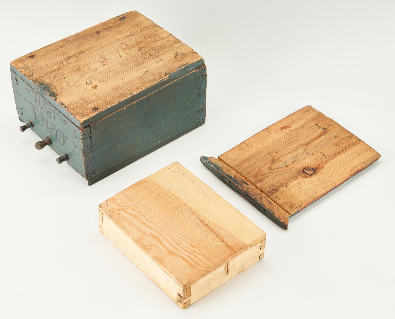 Lot 452: 4 Primitive Boxes & 1 Foot Warmer
