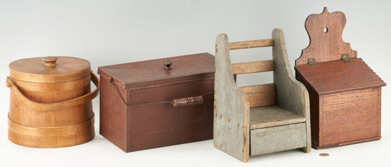 Lot 453: 3 Primitive Wood Items & 1 Toleware Box