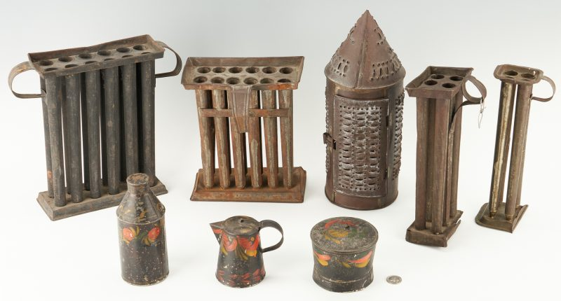 Lot 454: Group of 19th C. Tin incl. Toleware, Candle Molds