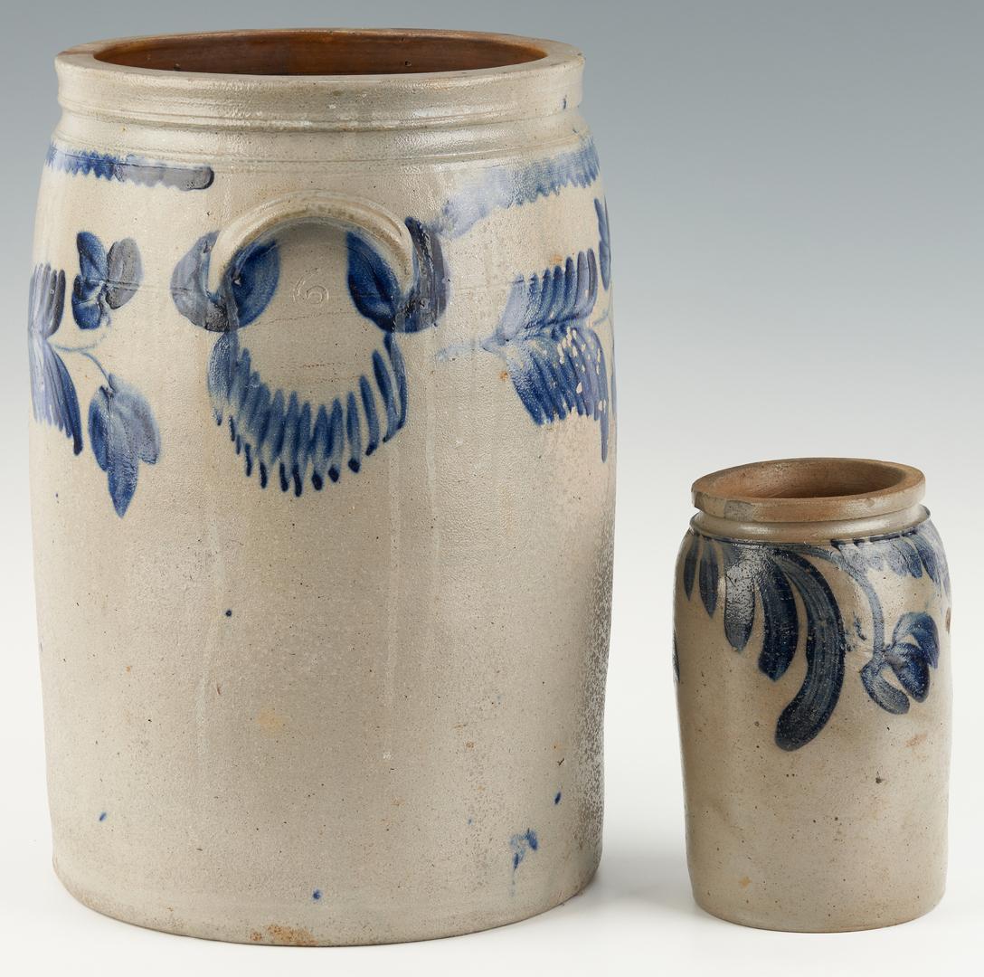 Lot 455: 2 Cobalt decorated jars, 1 poss. Baltimore