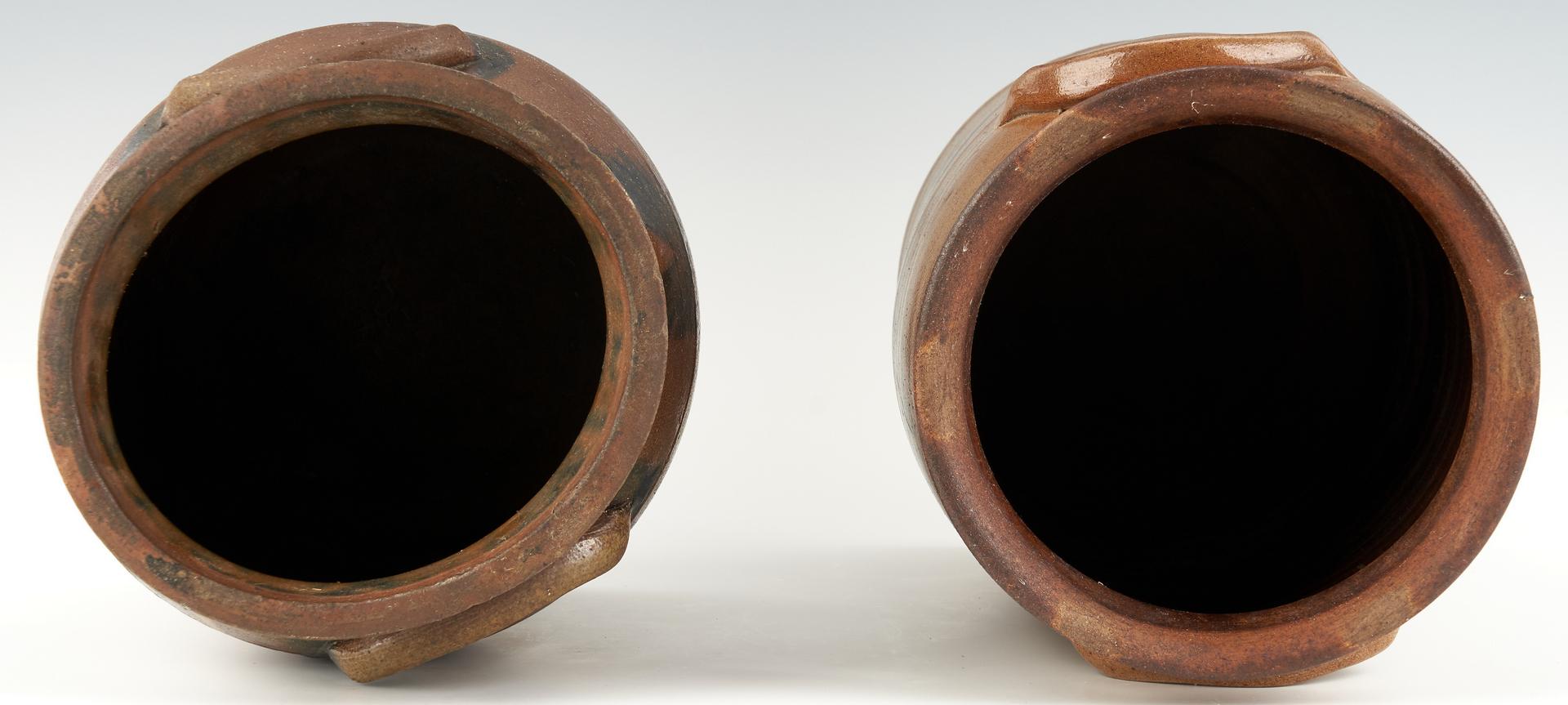 Lot 457: 2 Cobalt Decorated Stoneware Jars, Poss. SW VA