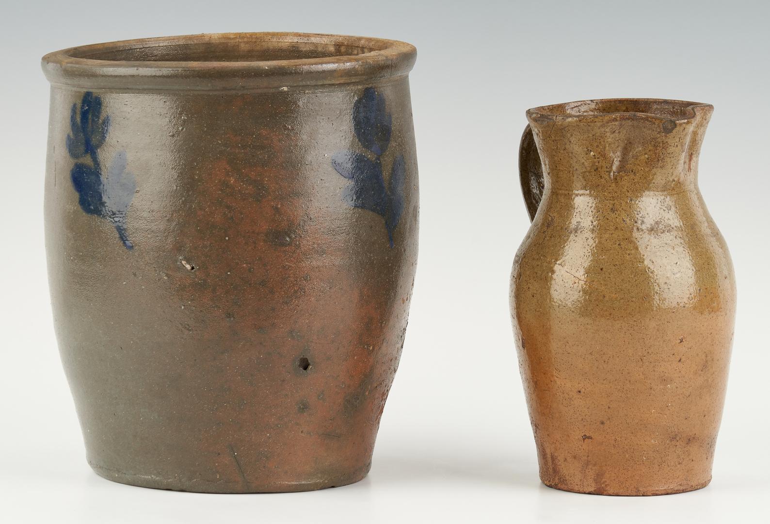 Lot 458: 2 VA Stoneware Items, incl. Wash. Co. Cobalt Jar