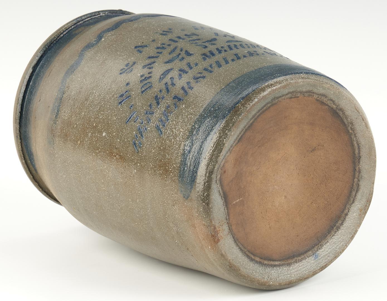 Lot 459: Bearsville, West Virginia Riggs Cobalt Decorated Stoneware Jar