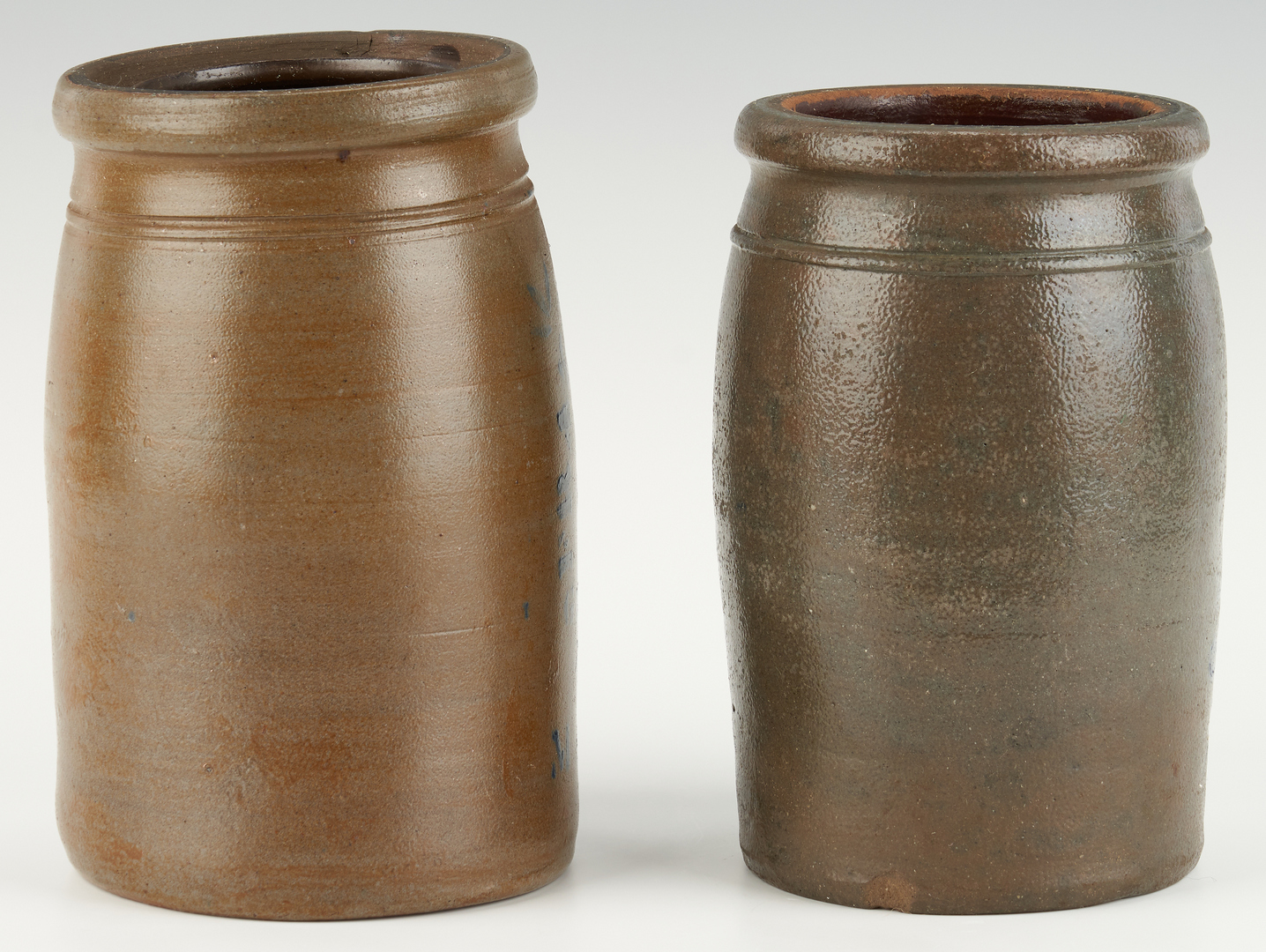 Lot 460: 2 W. VA Stoneware Jars, incl. Frazier, Staats