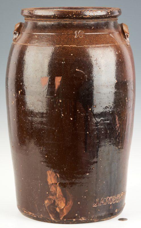 Lot 463: J.A Roberts Middle TN Pottery 10-Gallon Jar