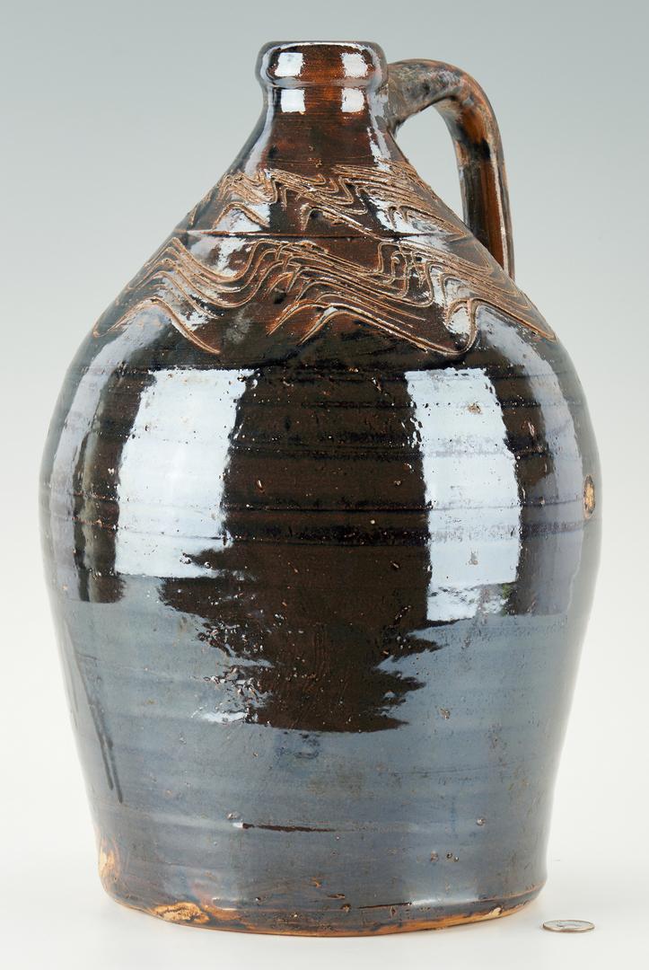 Lot 464: Southern Alkaline Glaze Pottery Jug w/ Sine Wave, AL