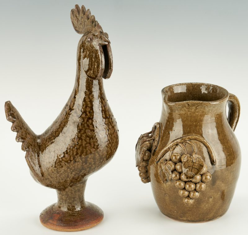 Lot 467: 2 Edwin Meaders Folk Pottery Items, Rooster & Pitcher