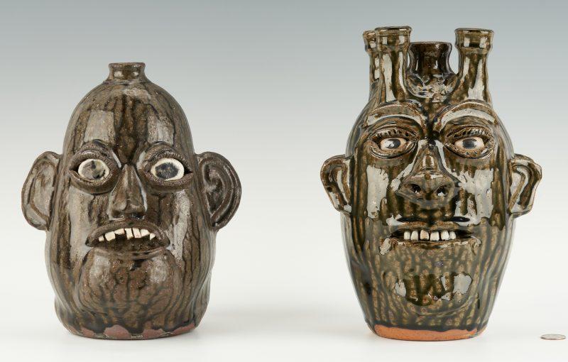 Lot 468: 2 GA Stoneware Pottery Face Jugs, incl. C. & B. Meaders, M. Hewell