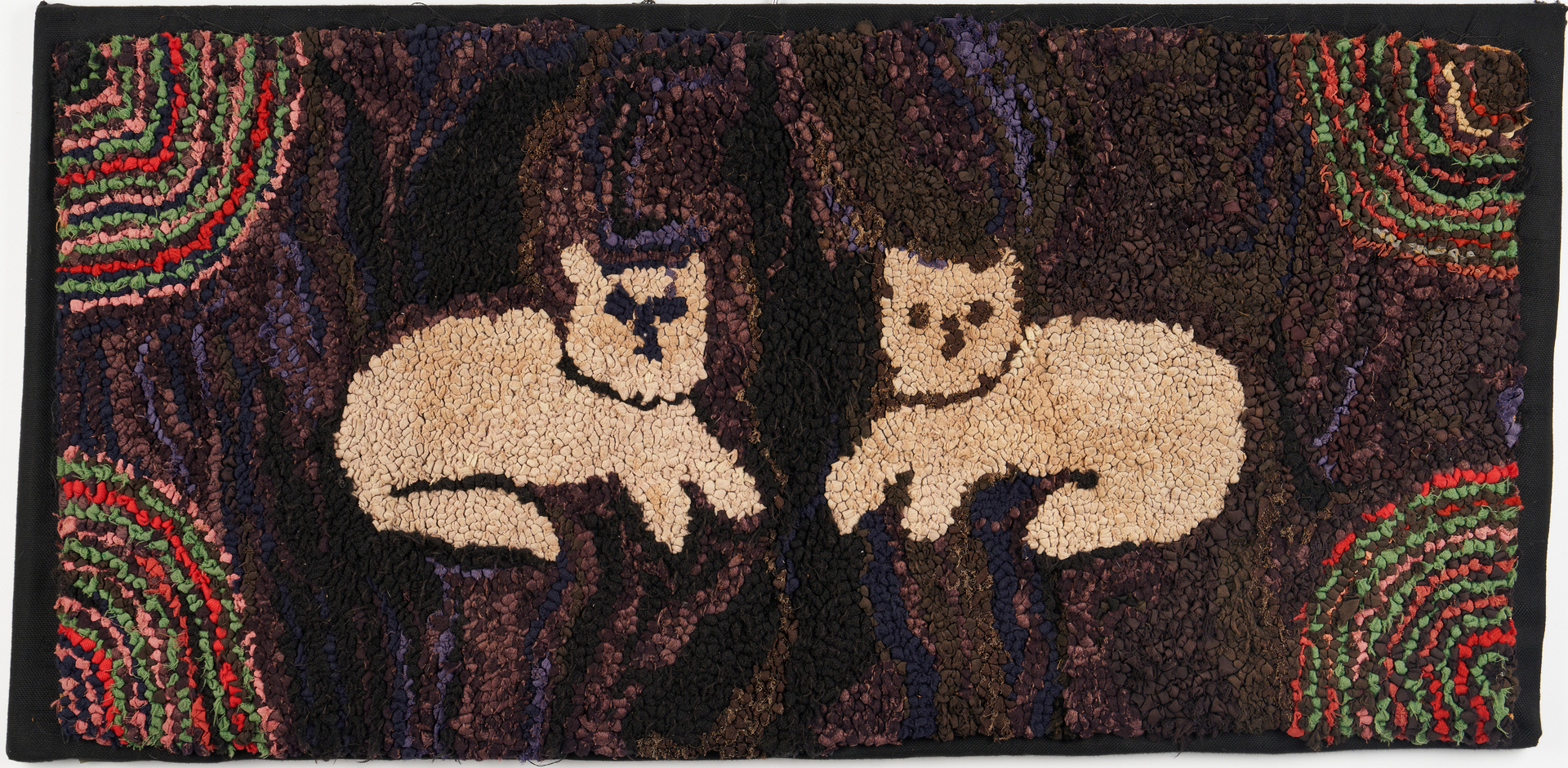 Lot 471: 4 Hooked Rugs inc. Cats, Chickens