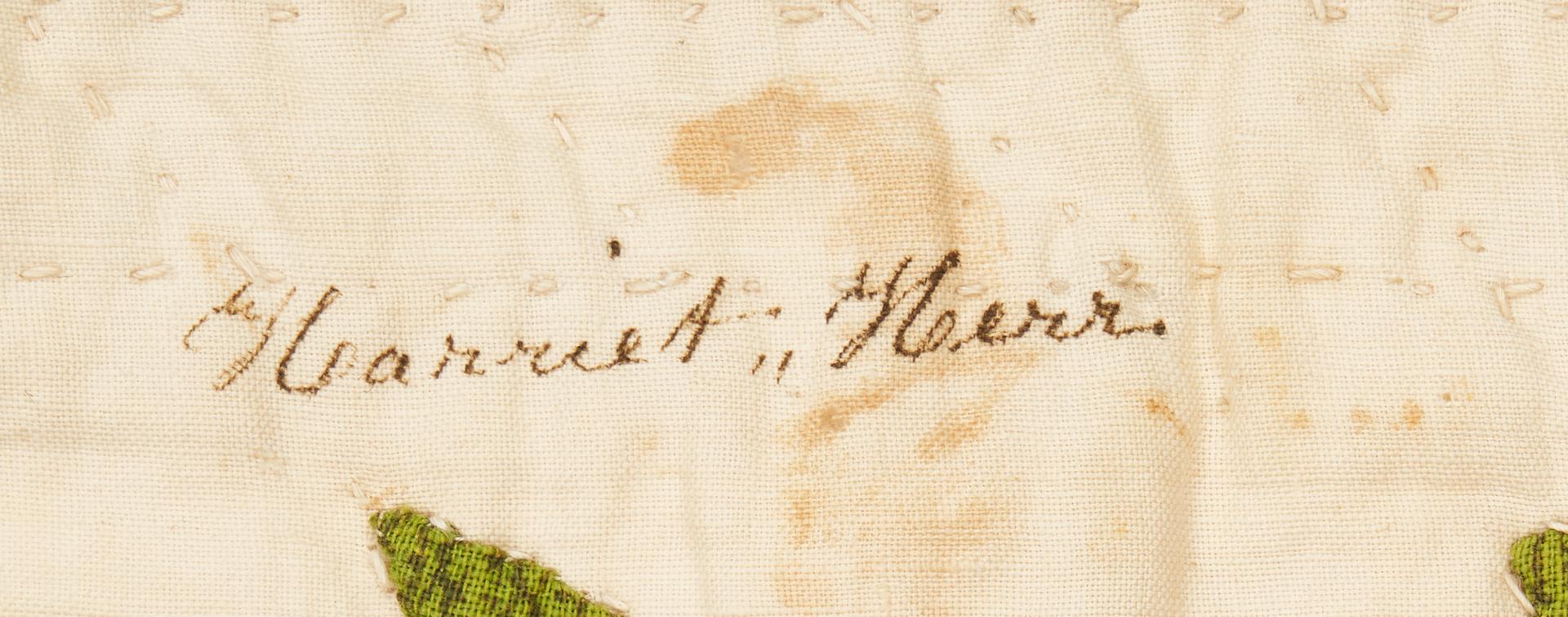 Lot 472: Pair of Tulip Quilts, Signed, attr. Pennsylvania