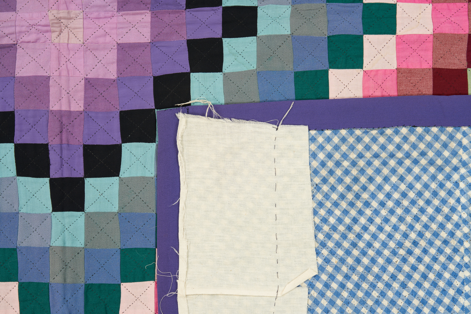 Lot 474: Amish Quilt, Sunshine and Shadow Pattern