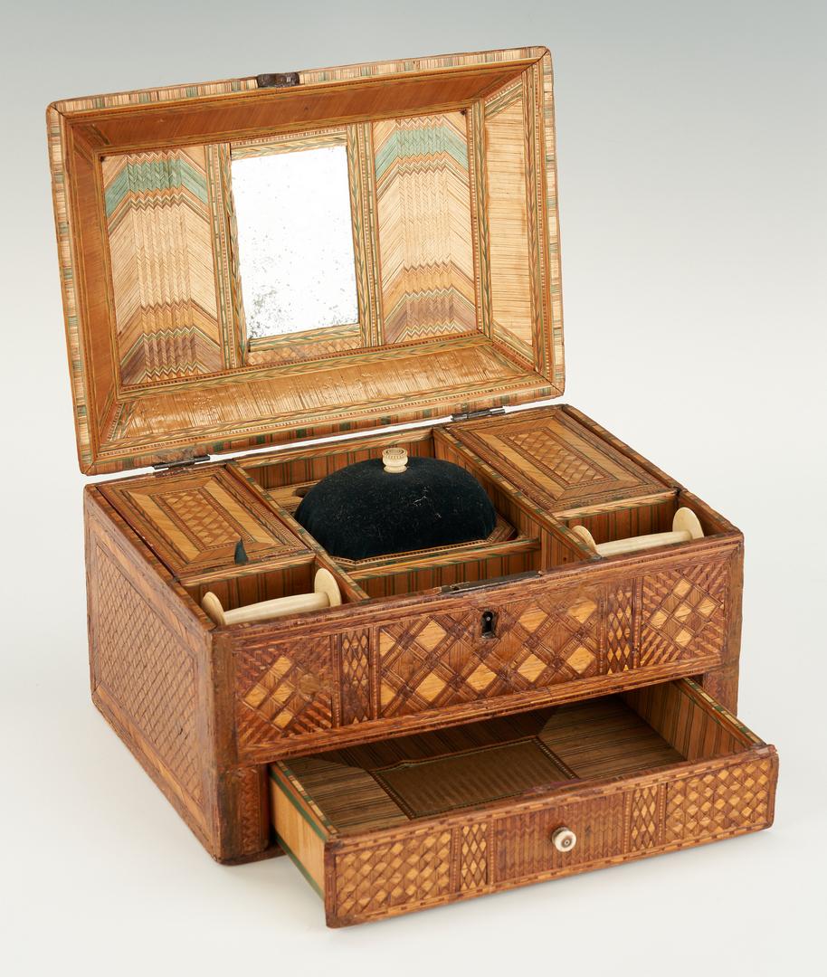 Lot 479: Straw Work Sewing Box, Tortoise Needlecase, Bird Clamp