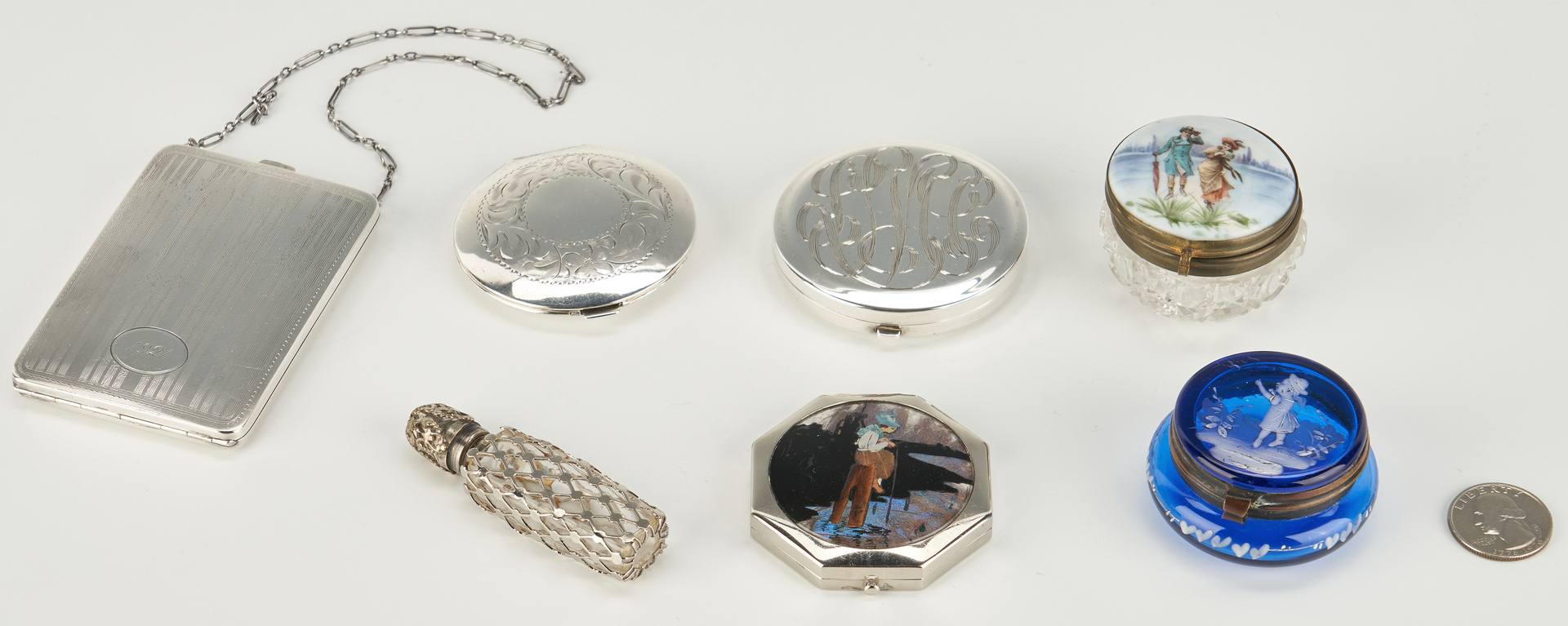 Lot 482: 7 Silver and Glass Vanity Items, incl. Mary Gregory Pill Box