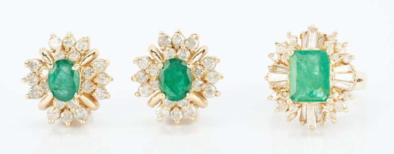 Lot 486: 14K Emerald & Diamond Set, Ring and Earrings