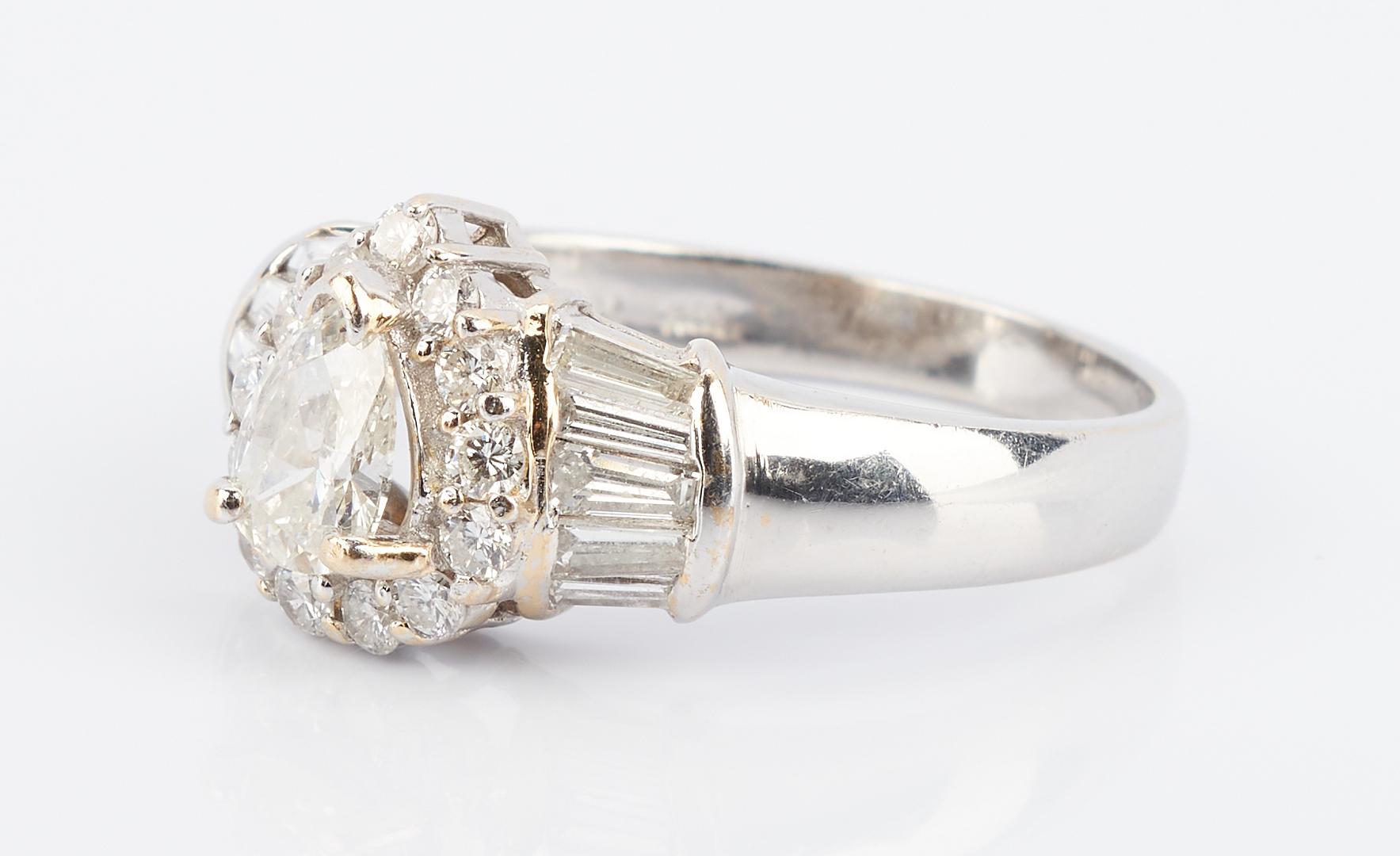 Lot 489: Ladies 18K Gold & Pear Shaped Diamond Ring