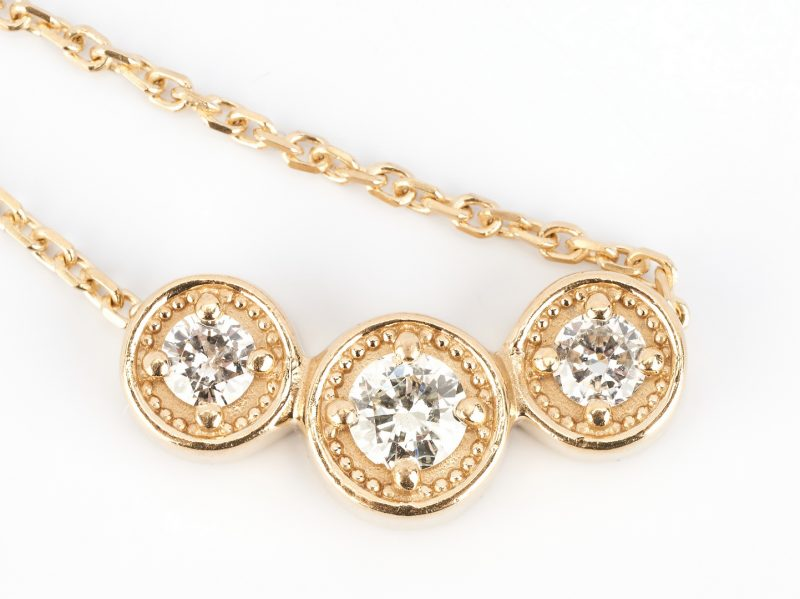 Lot 490: Ladies 14K & Diamond Necklace