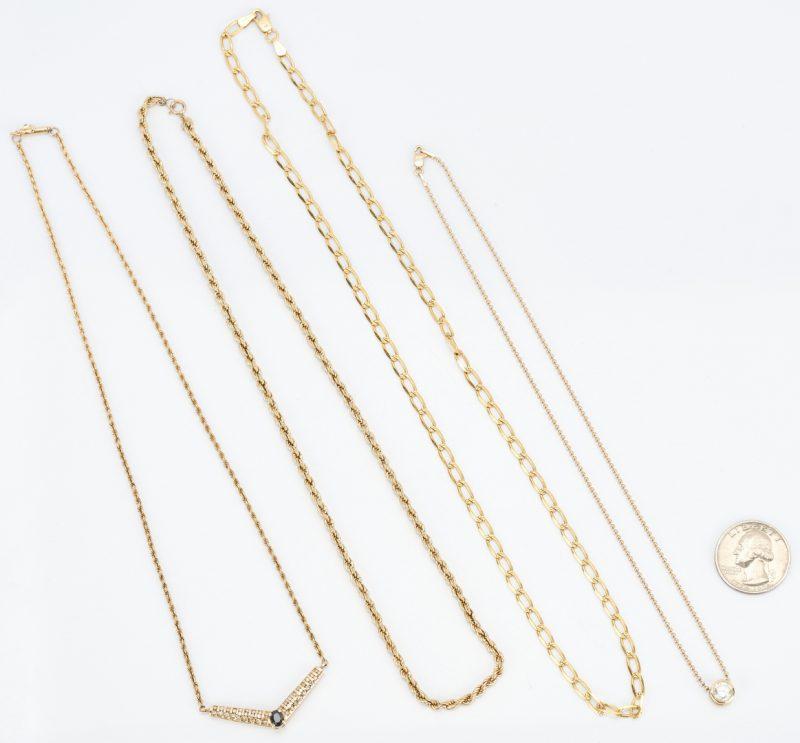 Lot 491: 4 14K Gold Chain Necklaces