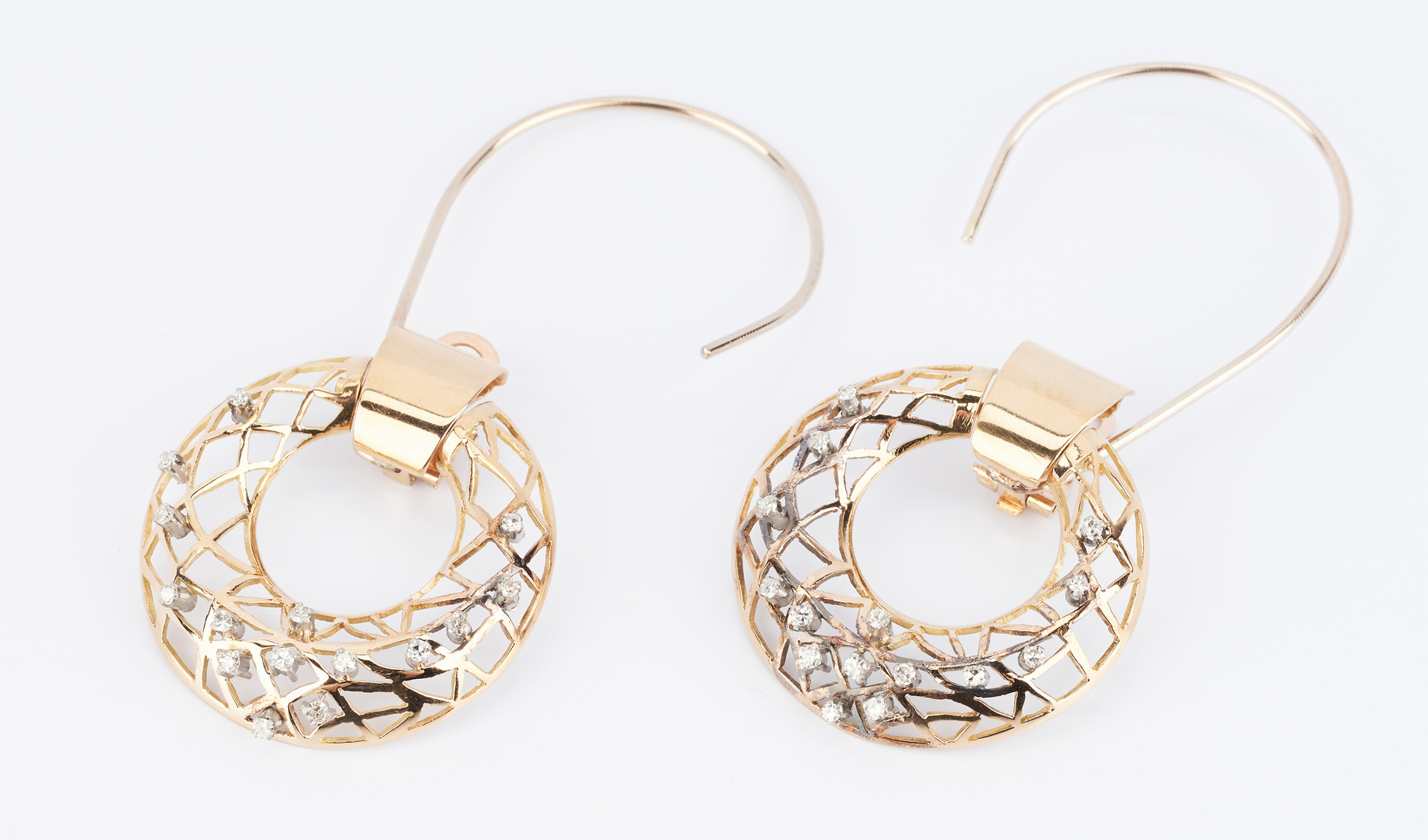 Lot 492: Pair 14K Diamond Earrings with Matching Ring