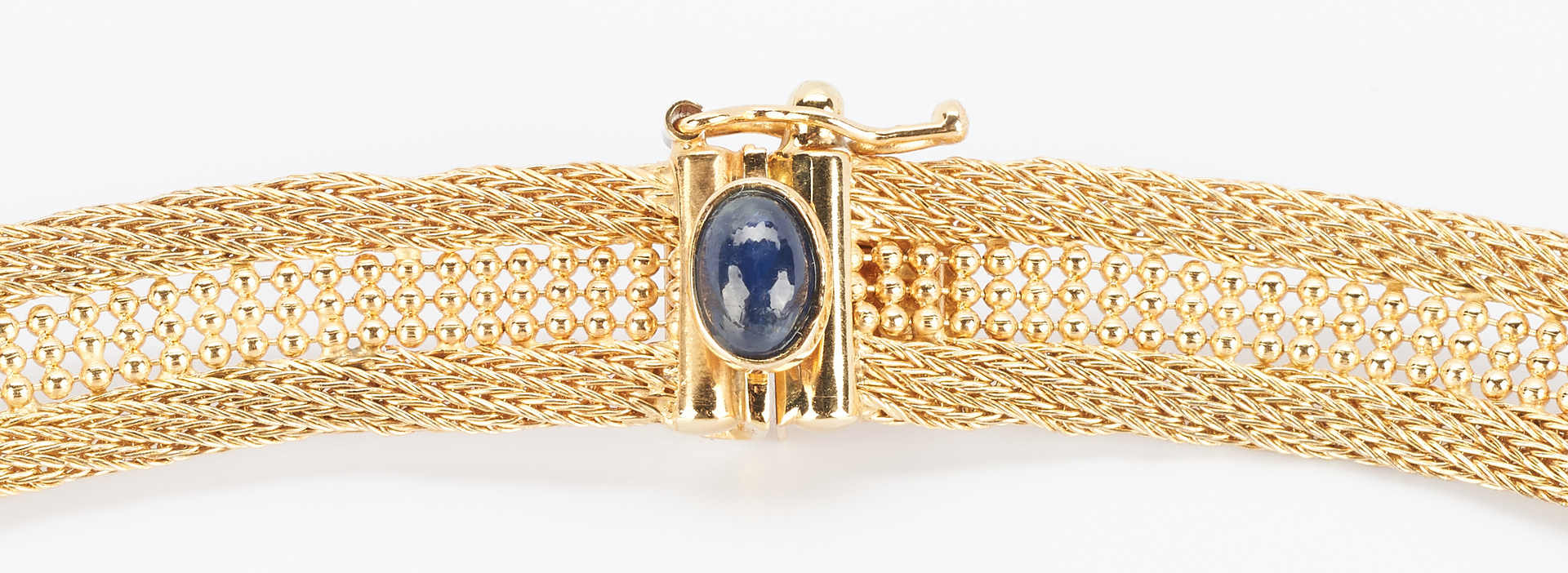 Lot 493: 14k Gold Mesh Necklace w/ Sapphire Clasp