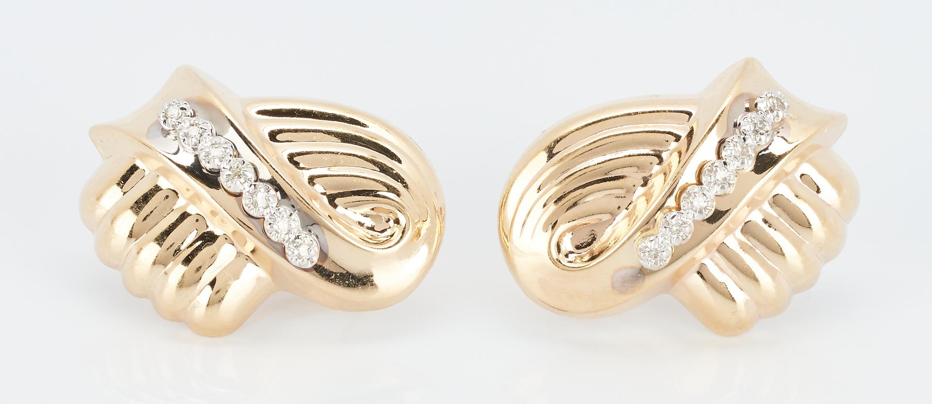 Lot 496: 4 Pairs Ladies 14K Yellow Gold Earrings