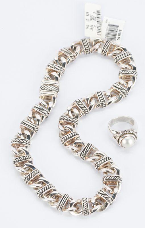 Lot 498: Yurman Sterling Necklace & Dweck Pearl Ring