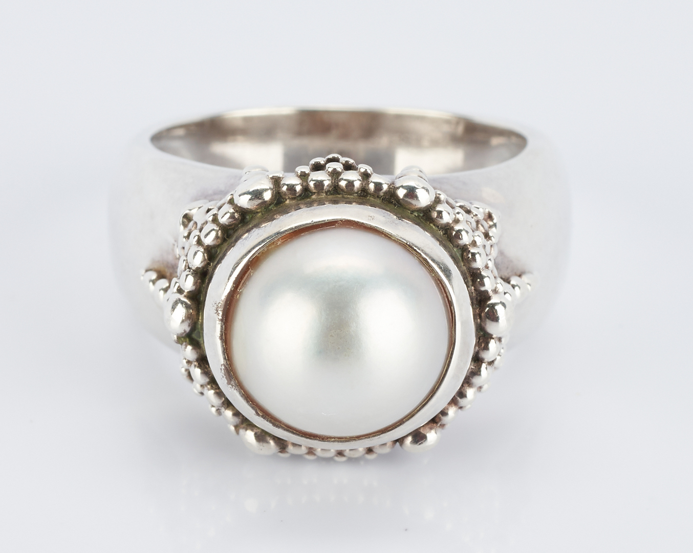 Lot 498: Yurman Sterling Necklace & Dweck Pearl Ring