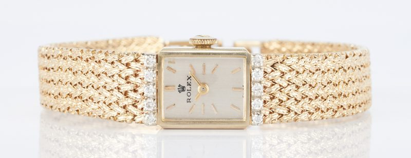 Lot 499: Ladies Vintage 14K & Diamond Rolex Dress Watch