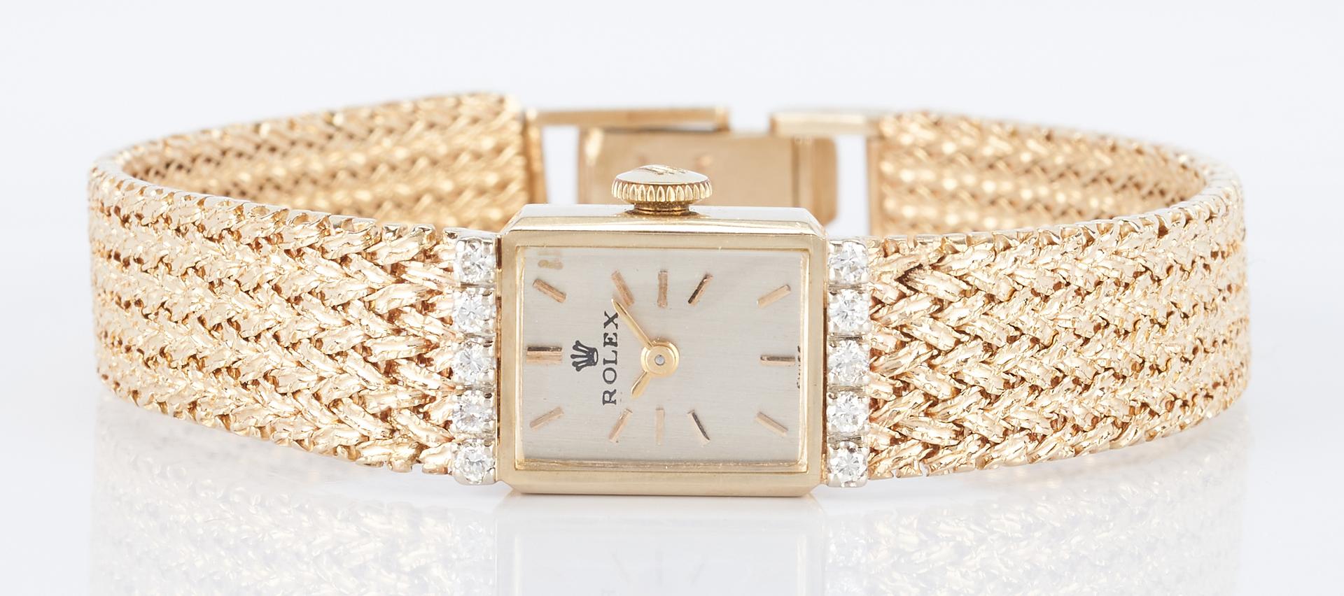 Lot 499: Ladies Vintage 14K & Diamond Rolex Dress Watch