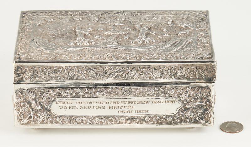Lot 4: Asian Silver Repousse Box w/ Inscription