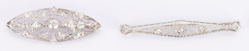 Lot 501: 2 Ladies White Gold Filigree & Diamond Brooches