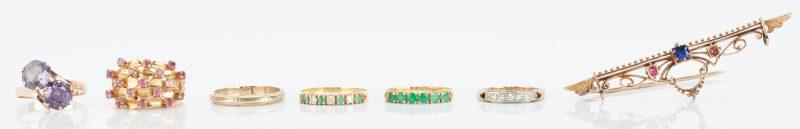 Lot 502: 7 14K Gold & Gemstone Items, 1 Brooch & 6 Rings