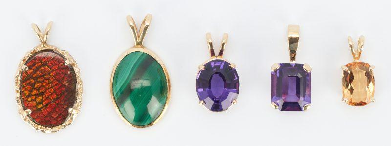 Lot 503: 5 Ladies 14K & Colored Stone Pendants